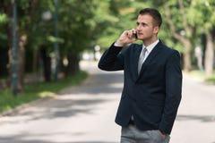 Biznesmen Opowiada Na telefonie Outdoors W parku obrazy royalty free