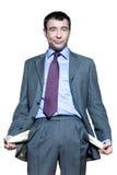 biznesmen opróżnia jego kieszeni portreta seans zdjęcie stock