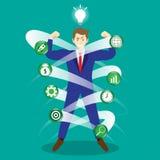 Biznesmen Otaczający Biznesowymi ikonami ilustracji