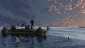 Biznesmen otaczający wodą i rekinami obrazy royalty free