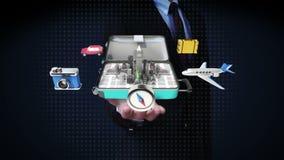 Biznesmen otwarte palmy, Otwierać podróżna torba, bagażnik, Przygotowywają podróżować dla miasta, wycieczka turysyczna zdjęcie wideo