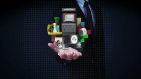 Biznesmen otwarte palmy, różnorodne gier zawartość, blok, joystick, wideo gra zdjęcie wideo