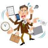 Biznesmen panikował mnóstwo pracą ilustracja wektor