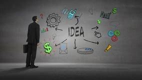 Biznesmen patrzeje ścianę z pomysłu brainstorm zbiory