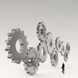 Biznesmen patrzeje 3d cog przekładnię sukces ilustracji
