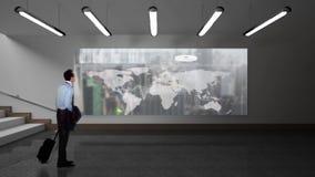 Biznesmen patrzeje ekran pokazuje ziemską mapę z dane ilustracji