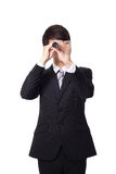 Biznesmen patrzeje naprzód z teleskopem Zdjęcie Stock