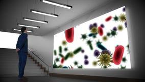 Biznesmen patrzeje projektoru ekran z bakteriami ilustracja wektor