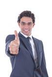 Biznesmen pokazuje aprobaty Fotografia Stock