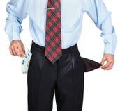 Biznesmen pokazuje jego pustą jeden kieszeń Zdjęcia Stock
