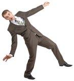 Biznesmen pozuje z rękami podnosić zdjęcia stock