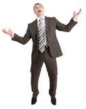 Biznesmen pozuje z rękami podnosić fotografia royalty free