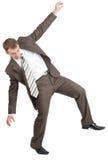 Biznesmen pozuje z rękami podnosić zdjęcie royalty free