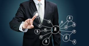 Biznesmen pozyci postury ręki technologii wzruszający pojęcie Obraz Stock