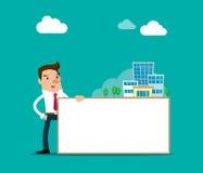 Biznesmen pozycja blisko do białego sztandaru z symbol własności nieruchomością Odosobniona wektorowa ilustracja Zdjęcia Stock