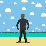 Biznesmen pozycja na plaży ilustracja wektor