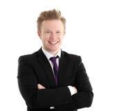 Biznesmen pozycja w czarnym krawacie i kurtce Obrazy Royalty Free