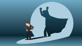 Biznesmen pozycja z bohatera cieniem Biznesowy symbol Zwyci?zca i wyzwania poj?cie Komiczna p?tli animacja