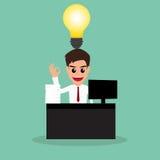 Biznesmen praca mocno i pomysł Zdjęcie Royalty Free