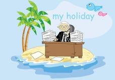 Biznesmen pracuje w wakacje Royalty Ilustracja