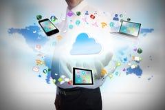 Biznesmen przedstawia chmurę oblicza grafikę Obraz Stock
