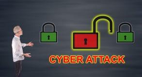 Biznesmen przedstawia cyber ataka pojęcie na ściennym ekranie Zdjęcia Royalty Free