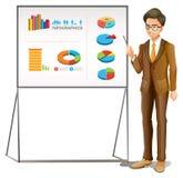 Biznesmen przedstawia wykresy na desce ilustracji