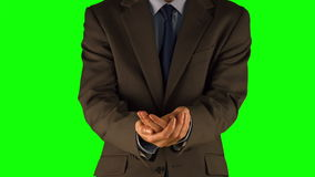 Biznesmen przedstawia z rękami zbiory