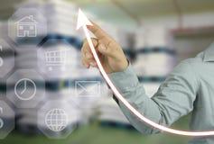 biznesmen ręka wskazuje wierzchołek dochodowość wykres w twój zdjęcia stock