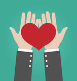 Biznesmen ręki Daje Czerwonemu sercu Obraz Royalty Free