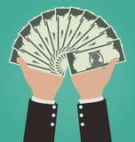 Biznesmen ręki Daje pieniądze ilustracja wektor