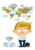 Biznesmen ręki mienia telefon komórkowy z bezpłatnymi wi fi w worldmap Obrazy Stock