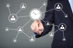 Biznesmen ręki prasy zegarowego czasu guzika ikona Biznesu, technologii i interneta pojęcie, Obraz Stock