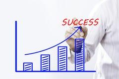 Biznesmen ręki rysunkowy wykres pomyślny przyrost biznes zdjęcia royalty free