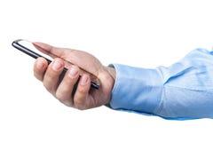 Biznesmen ręki Smartphone czytanie Odizolowywający Zdjęcie Stock