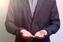 Biznesmen ręka otwarta palmowa Fotografia Royalty Free