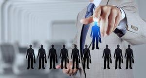 Biznesmen ręka wybiera ludzi ikon Zdjęcie Royalty Free