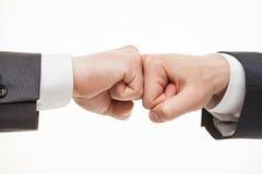 Biznesmen ręki demonstruje gest konflikt Zdjęcia Stock