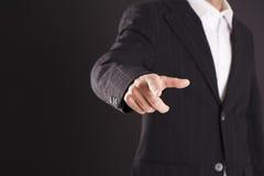 Biznesmen ręki macania pusty wirtualny ekran Zdjęcie Stock