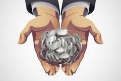 Biznesmen ręki Trzyma Srebne monety Zdjęcie Stock