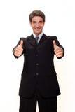 biznesmen robi kciukom dwa zdjęcia royalty free