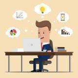 Biznesmen robi online komunikacjom i analityka również zwrócić corel ilustracji wektora ilustracja wektor