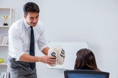 Biznesmen robi prezentaci z pieniędzy workami Zdjęcia Stock
