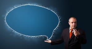 Biznesmen robi rozmowie telefonicza i przedstawia mowa bąbla kopię Fotografia Royalty Free
