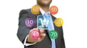 Biznesmen robi zakupy online Obrazy Stock