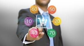 Biznesmen robi zakupy online Zdjęcia Stock