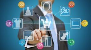 Biznesmen robi zakupy online Zdjęcie Stock