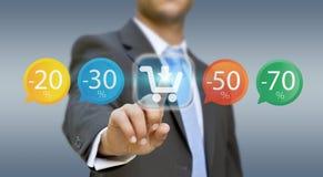 Biznesmen robi zakupy online Obraz Stock