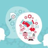 Biznesmen rozmowa, proces tworzyć pomysł Pomyślny biznesu i partnerstwa pojęcie ilustracja wektor