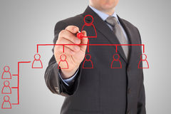 Biznesmen rysuje organizacyjną mapę Zdjęcie Stock